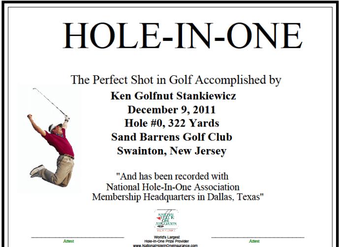 Ken Stankiewicz Golfnut59 Hole in One - Golficity
