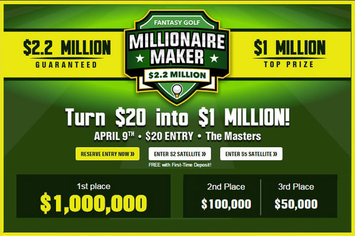 DraftKings Million Dollar Fantasy Golf Masters Contest