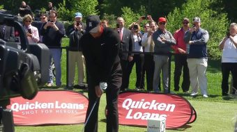 Tiger Woods Finds Nothing But Water at Quicken Loans Media Day