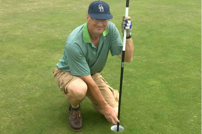 Angry Golfer Hits Hole In One With His Putter